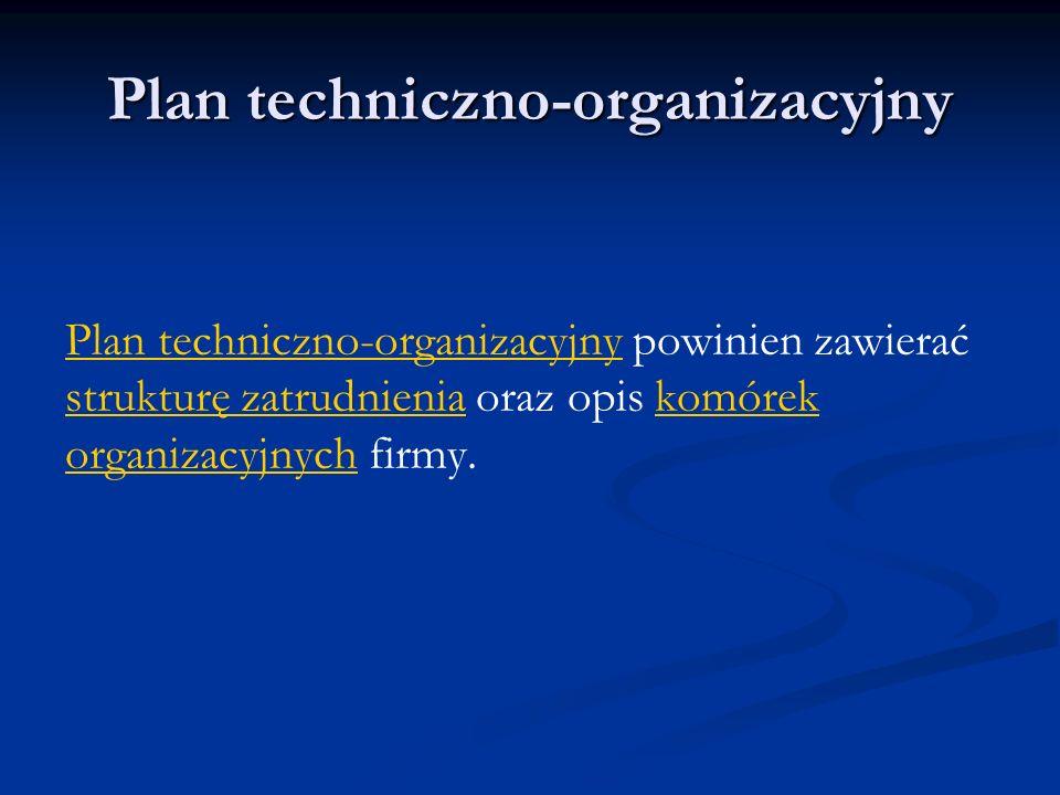 Plan techniczno-organizacyjny Plan techniczno-organizacyjny powinien zawierać strukturę zatrudnienia oraz opis komórek organizacyjnych firmy.