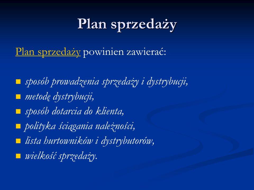 Plan sprzedaży Plan sprzedaży powinien zawierać: sposób prowadzenia sprzedaży i dystrybucji, metodę dystrybucji, sposób dotarcia do klienta, polityka