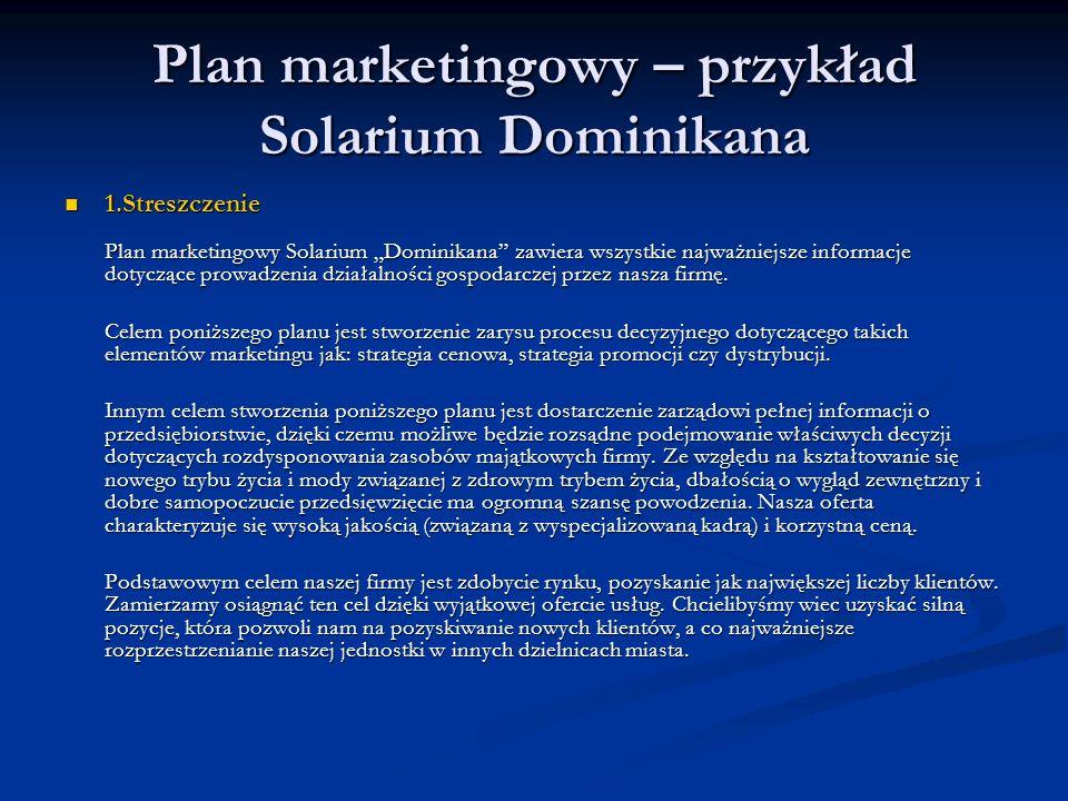Plan marketingowy – przykład Solarium Dominikana 1.Streszczenie Plan marketingowy Solarium Dominikana zawiera wszystkie najważniejsze informacje dotyc