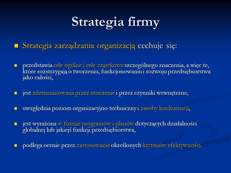 Strategia firmy Strategia zarządzania organizacją cechuje się: Strategia zarządzania organizacją cechuje się: przedstawia cele ogólne i cele cząstkowe