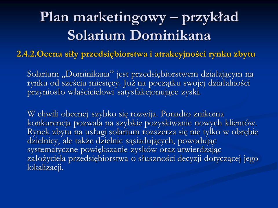 Plan marketingowy – przykład Solarium Dominikana 2.4.2.Ocena siły przedsiębiorstwa i atrakcyjności rynku zbytu Solarium Dominikana jest przedsiębiorst