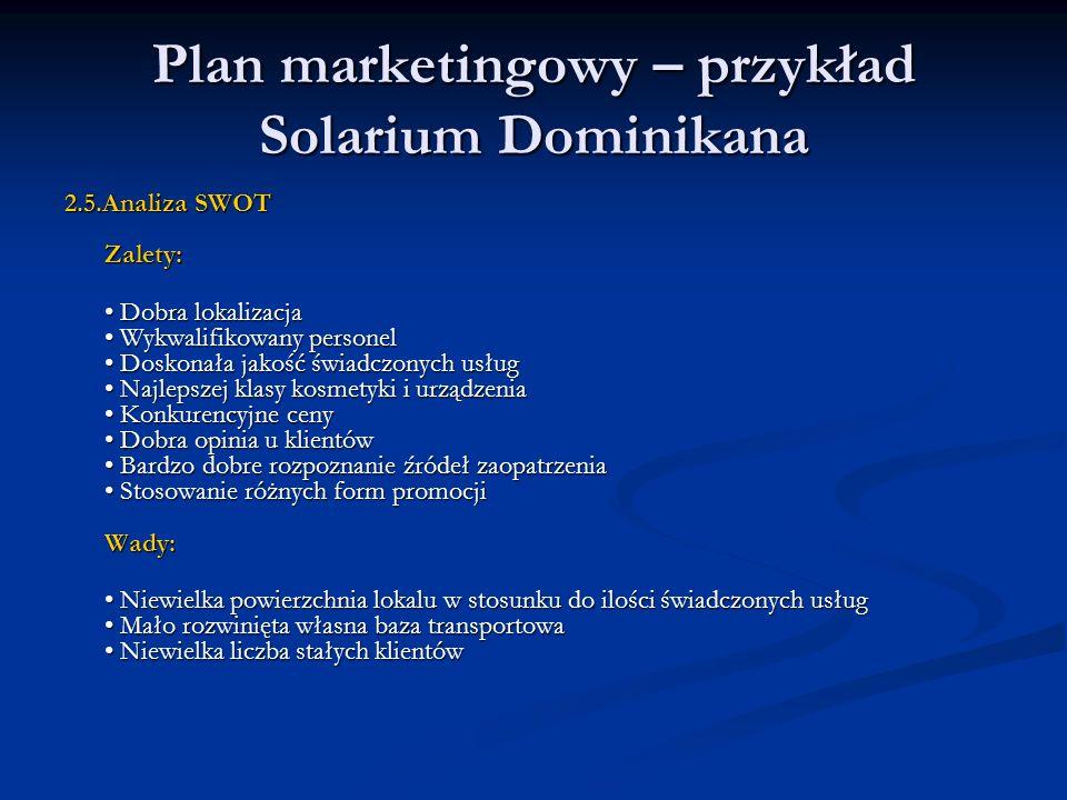 Plan marketingowy – przykład Solarium Dominikana 2.5.Analiza SWOT Zalety: Dobra lokalizacja Wykwalifikowany personel Doskonała jakość świadczonych usł