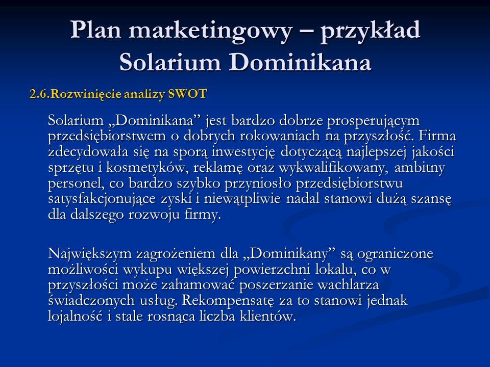 Plan marketingowy – przykład Solarium Dominikana 2.6.Rozwinięcie analizy SWOT Solarium Dominikana jest bardzo dobrze prosperującym przedsiębiorstwem o