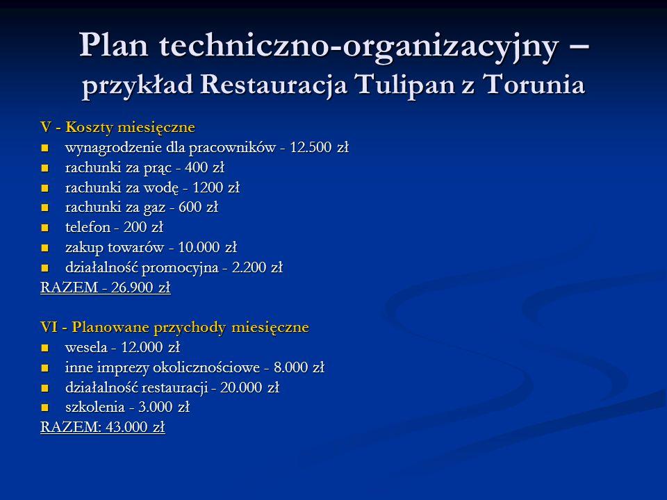 Plan techniczno-organizacyjny – przykład Restauracja Tulipan z Torunia V - Koszty miesięczne wynagrodzenie dla pracowników - 12.500 zł wynagrodzenie d