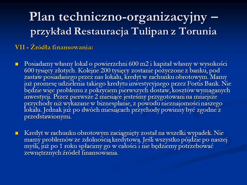 Plan techniczno-organizacyjny – przykład Restauracja Tulipan z Torunia VII - Źródła finansowania: Posiadamy własny lokal o powierzchni 600 m2 i kapita