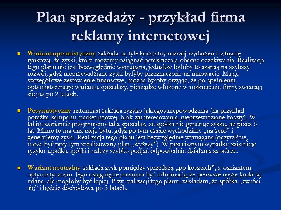 Plan sprzedaży - przykład firma reklamy internetowej Wariant optymistyczny zakłada na tyle korzystny rozwój wydarzeń i sytuację rynkową, że zyski, któ