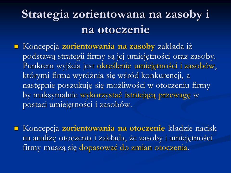 Strategia zorientowana na zasoby i na otoczenie Koncepcja zorientowania na zasoby zakłada iż podstawą strategii firmy są jej umiejętności oraz zasoby.