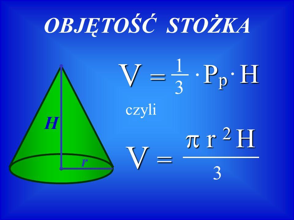 OBJĘTOŚĆ STOŻKA V = r 2 H r 2 H 3 H r V =V =V =V = Pp HPp HPp HPp H 1 3 czyli