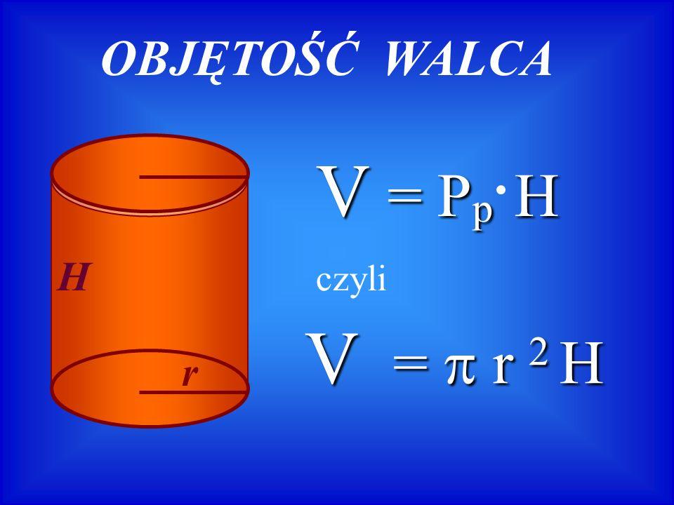 V = = = = r 2 H OBJĘTOŚĆ WALCA H r V = P p H czyli