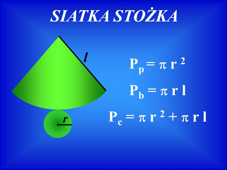 SIATKA STOŻKA r l P p = r 2 P c = r 2 + r l P b = r l