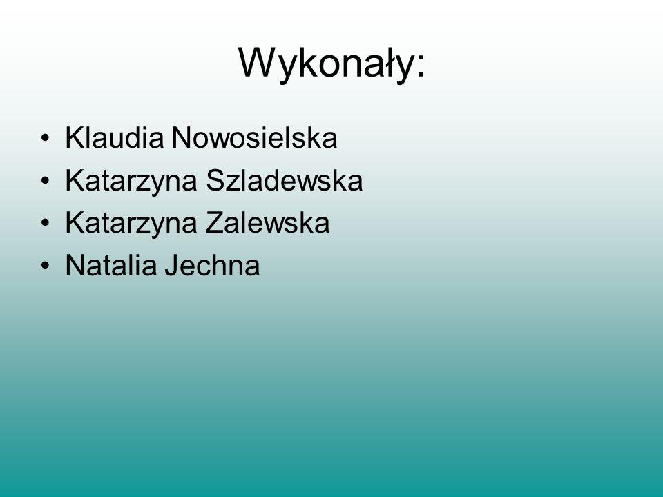 Wykonały: Klaudia Nowosielska Katarzyna Szladewska Katarzyna Zalewska Natalia Jechna
