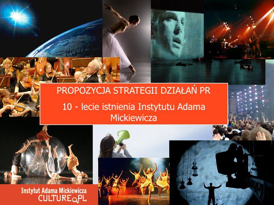 PROPOZYCJA STRATEGII DZIAŁAŃ PR 10 - lecie istnienia Instytutu Adama Mickiewicza