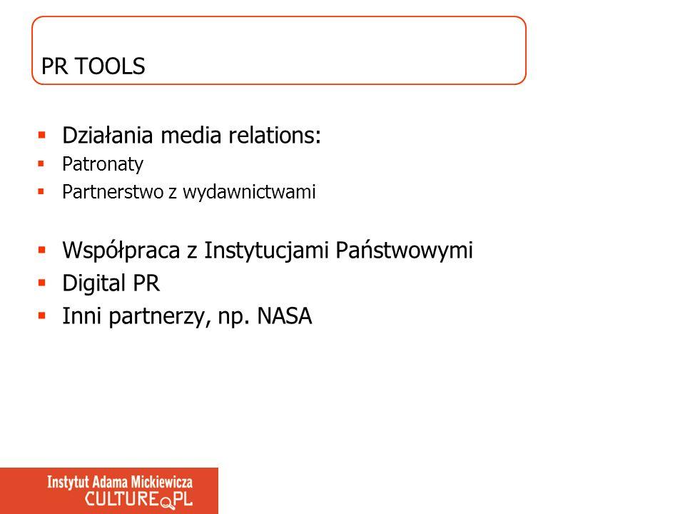 PR TOOLS Działania media relations: Patronaty Partnerstwo z wydawnictwami Współpraca z Instytucjami Państwowymi Digital PR Inni partnerzy, np. NASA