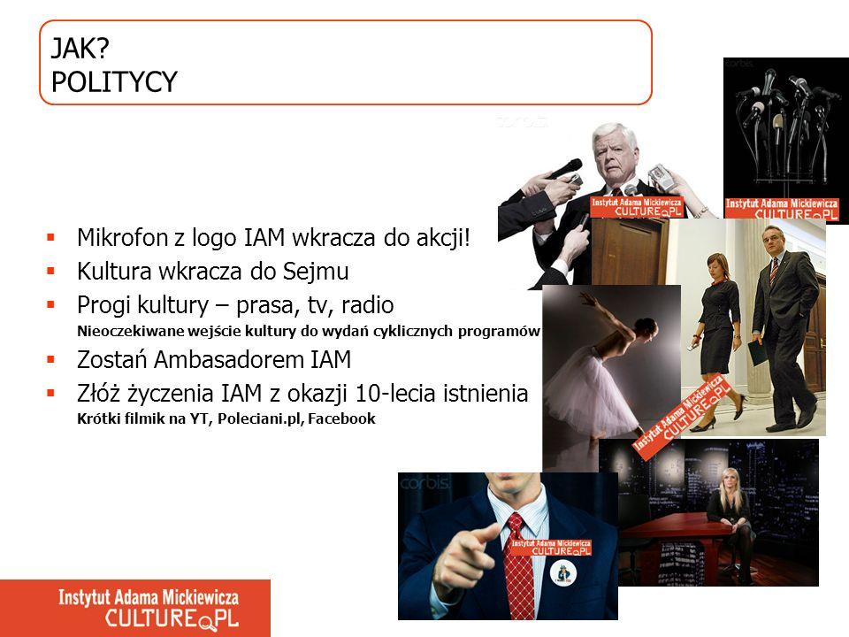 JAK? POLITYCY Mikrofon z logo IAM wkracza do akcji! Kultura wkracza do Sejmu Progi kultury – prasa, tv, radio Nieoczekiwane wejście kultury do wydań c