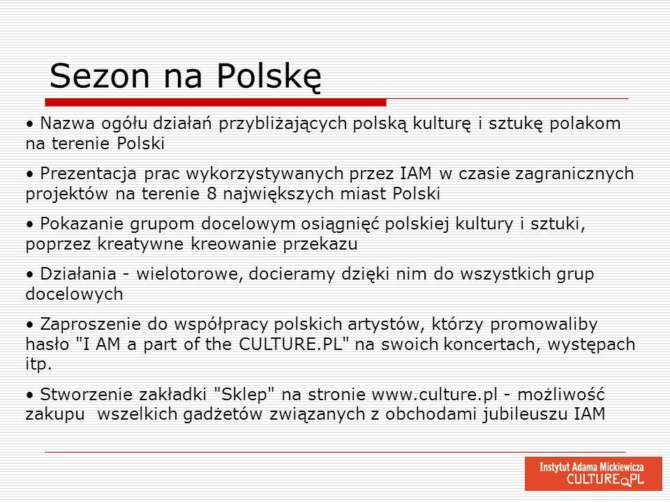 Sezon na Polskę Nazwa ogółu działań przybliżających polską kulturę i sztukę polakom na terenie Polski Prezentacja prac wykorzystywanych przez IAM w cz