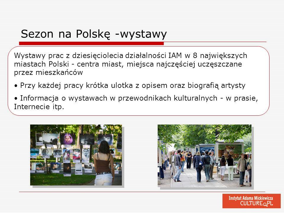 Sezon na Polskę -wystawy Wystawy prac z dziesięciolecia działalności IAM w 8 największych miastach Polski - centra miast, miejsca najczęściej uczęszcz
