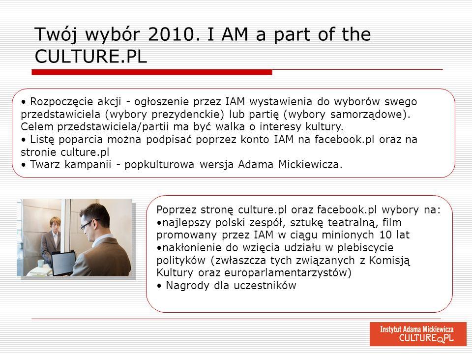 Twój wybór 2010. I AM a part of the CULTURE.PL Rozpoczęcie akcji - ogłoszenie przez IAM wystawienia do wyborów swego przedstawiciela (wybory prezydenc