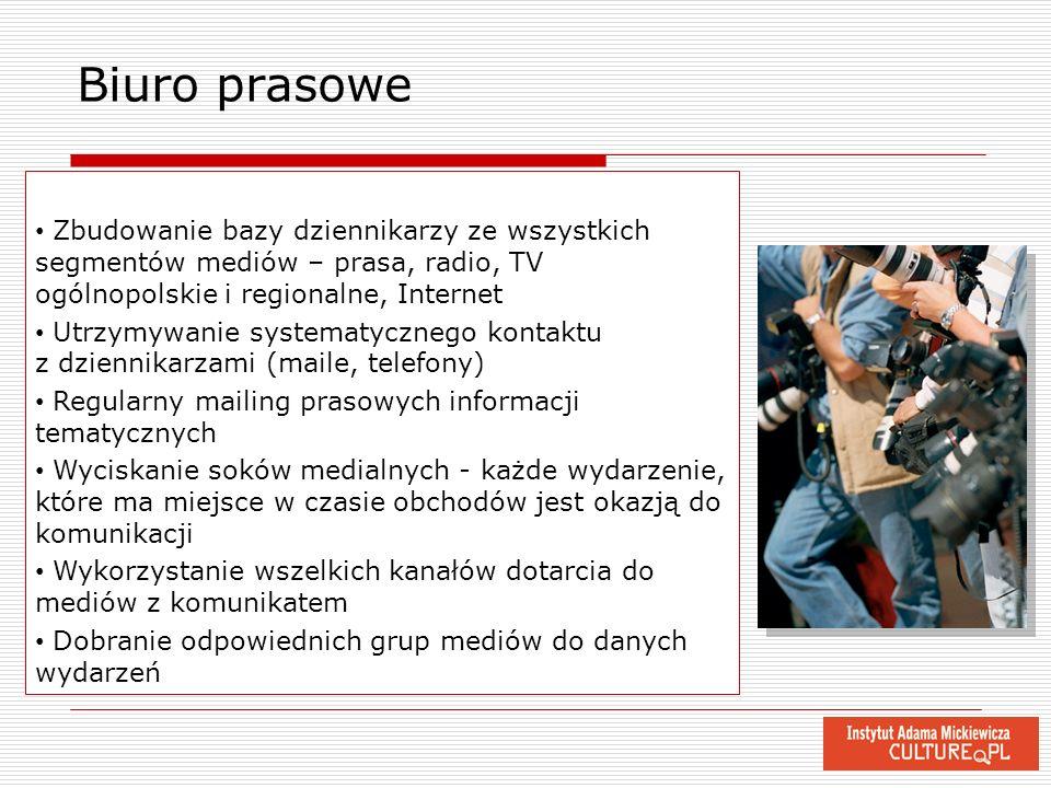 Biuro prasowe Zbudowanie bazy dziennikarzy ze wszystkich segmentów mediów – prasa, radio, TV ogólnopolskie i regionalne, Internet Utrzymywanie systema