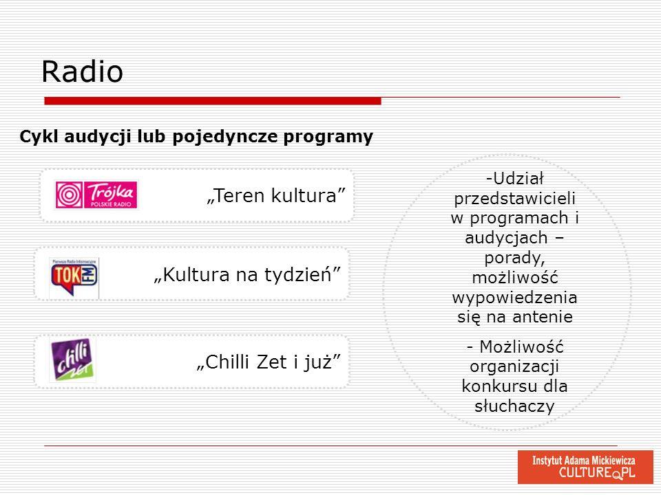 Kultura na tydzień Radio -Udział przedstawicieli w programach i audycjach – porady, możliwość wypowiedzenia się na antenie - Możliwość organizacji kon