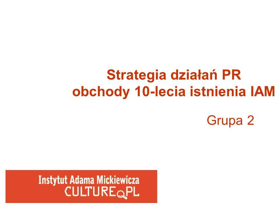 Strategia działań PR obchody 10-lecia istnienia IAM Grupa 2