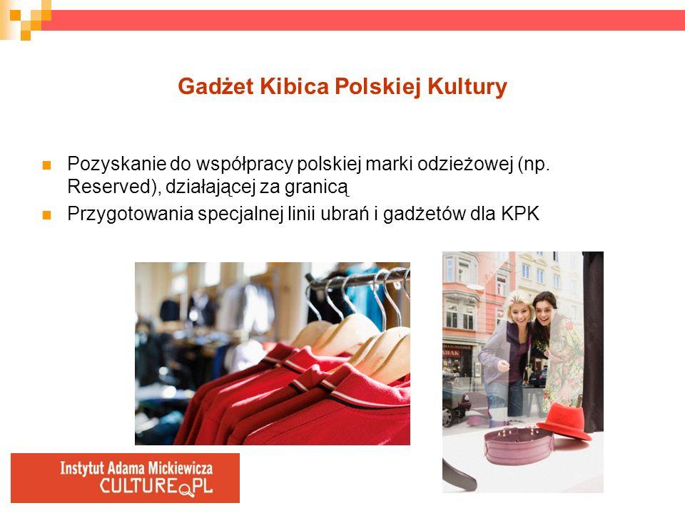 Gadżet Kibica Polskiej Kultury Pozyskanie do współpracy polskiej marki odzieżowej (np. Reserved), działającej za granicą Przygotowania specjalnej lini