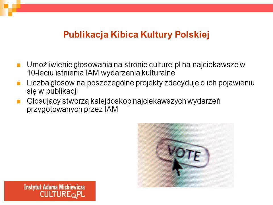 Publikacja Kibica Kultury Polskiej Umożliwienie głosowania na stronie culture.pl na najciekawsze w 10-leciu istnienia IAM wydarzenia kulturalne Liczba