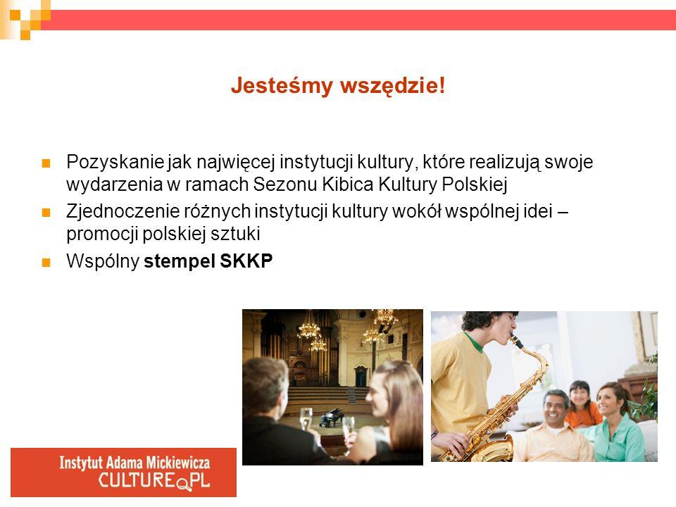 Jesteśmy wszędzie! Pozyskanie jak najwięcej instytucji kultury, które realizują swoje wydarzenia w ramach Sezonu Kibica Kultury Polskiej Zjednoczenie
