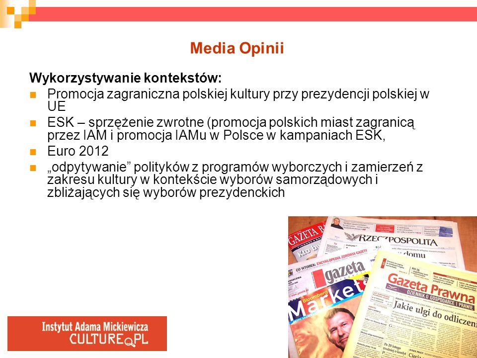 Media Opinii Wykorzystywanie kontekstów: Promocja zagraniczna polskiej kultury przy prezydencji polskiej w UE ESK – sprzężenie zwrotne (promocja polsk