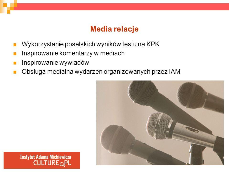 Media relacje Wykorzystanie poselskich wyników testu na KPK Inspirowanie komentarzy w mediach Inspirowanie wywiadów Obsługa medialna wydarzeń organizo