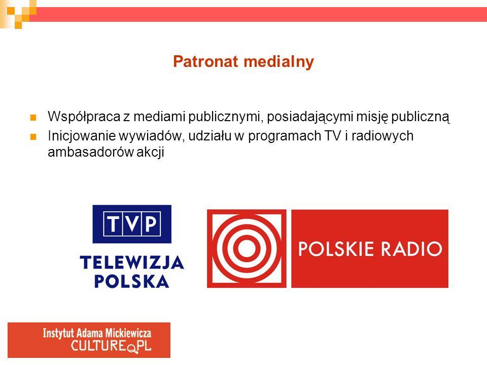 Patronat medialny Współpraca z mediami publicznymi, posiadającymi misję publiczną Inicjowanie wywiadów, udziału w programach TV i radiowych ambasadoró
