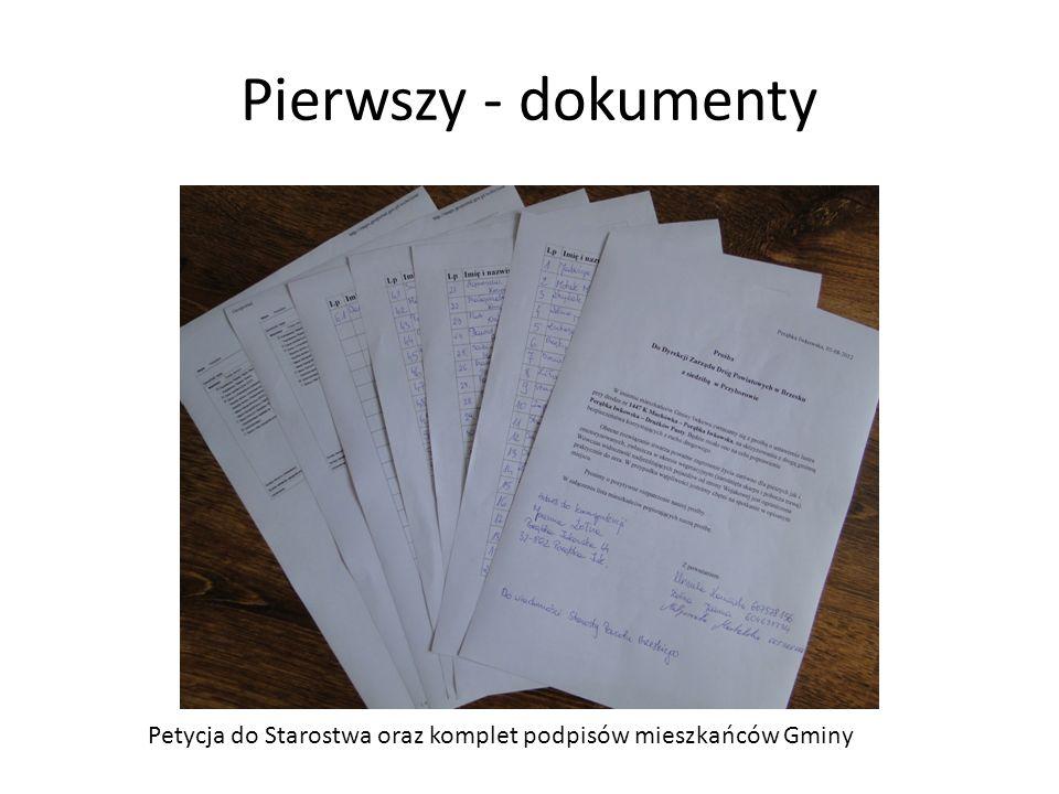 Pierwszy - dokumenty Petycja do Starostwa oraz komplet podpisów mieszkańców Gminy