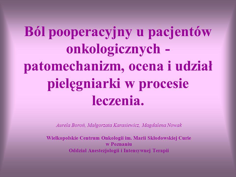 Ból pooperacyjny u pacjentów onkologicznych - patomechanizm, ocena i udział pielęgniarki w procesie leczenia. Aurela Boroń, Małgorzata Karasiewicz, Ma