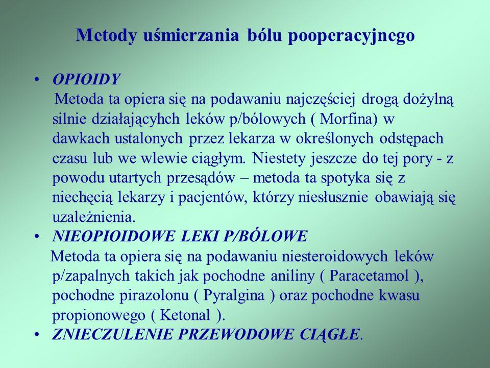 OPIOIDY Metoda ta opiera się na podawaniu najczęściej drogą dożylną silnie działającyhch leków p/bólowych ( Morfina) w dawkach ustalonych przez lekarz