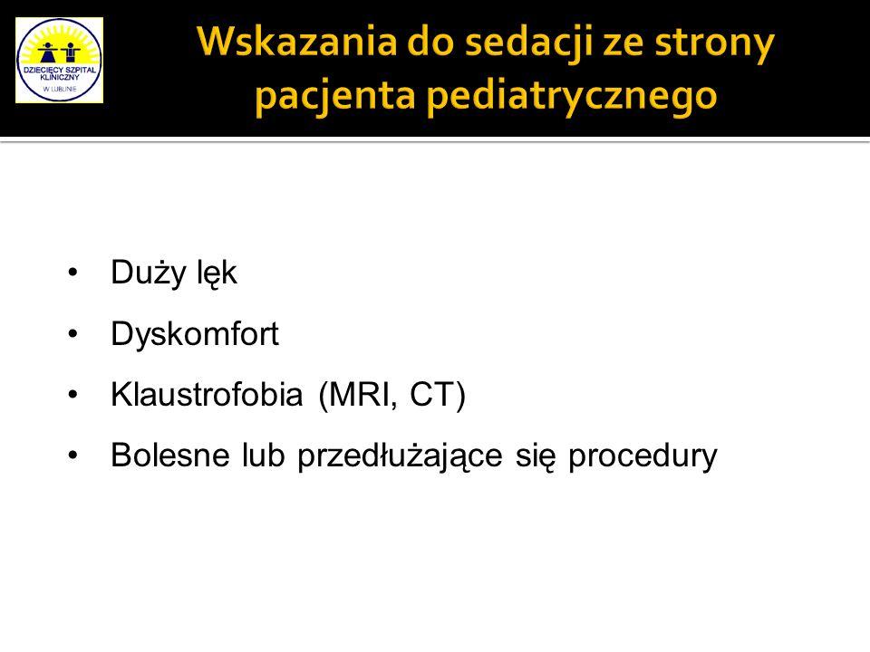 Wskazania do sedacji ze strony pacjenta pediatrycznego Duży lęk Dyskomfort Klaustrofobia (MRI, CT) Bolesne lub przedłużające się procedury