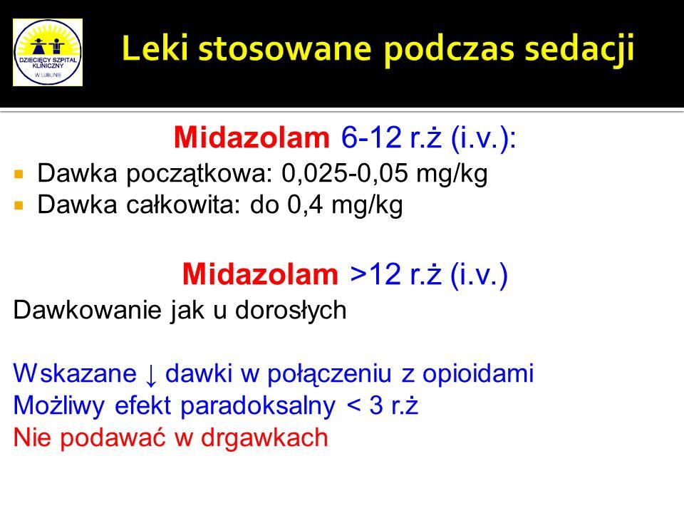 Midazolam 6-12 r.ż (i.v.): Dawka początkowa: 0,025-0,05 mg/kg Dawka całkowita: do 0,4 mg/kg Midazolam >12 r.ż (i.v.) Dawkowanie jak u dorosłych Wskaza