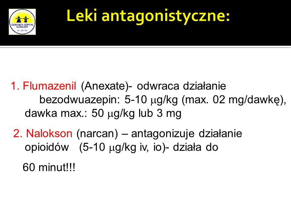 1. Flumazenil (Anexate)- odwraca działanie bezodwuazepin: 5-10 g/kg (max. 02 mg/dawkę), dawka max.: 50 g/kg lub 3 mg 2. Nalokson (narcan) – antagonizu