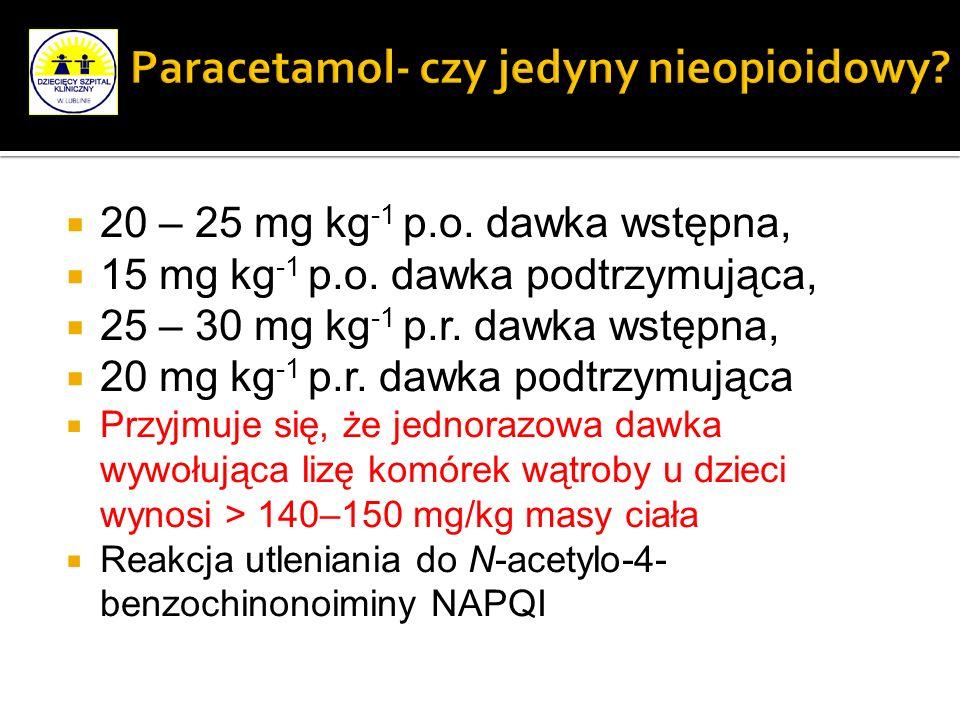 20 – 25 mg kg -1 p.o. dawka wstępna, 15 mg kg -1 p.o. dawka podtrzymująca, 25 – 30 mg kg -1 p.r. dawka wstępna, 20 mg kg -1 p.r. dawka podtrzymująca P
