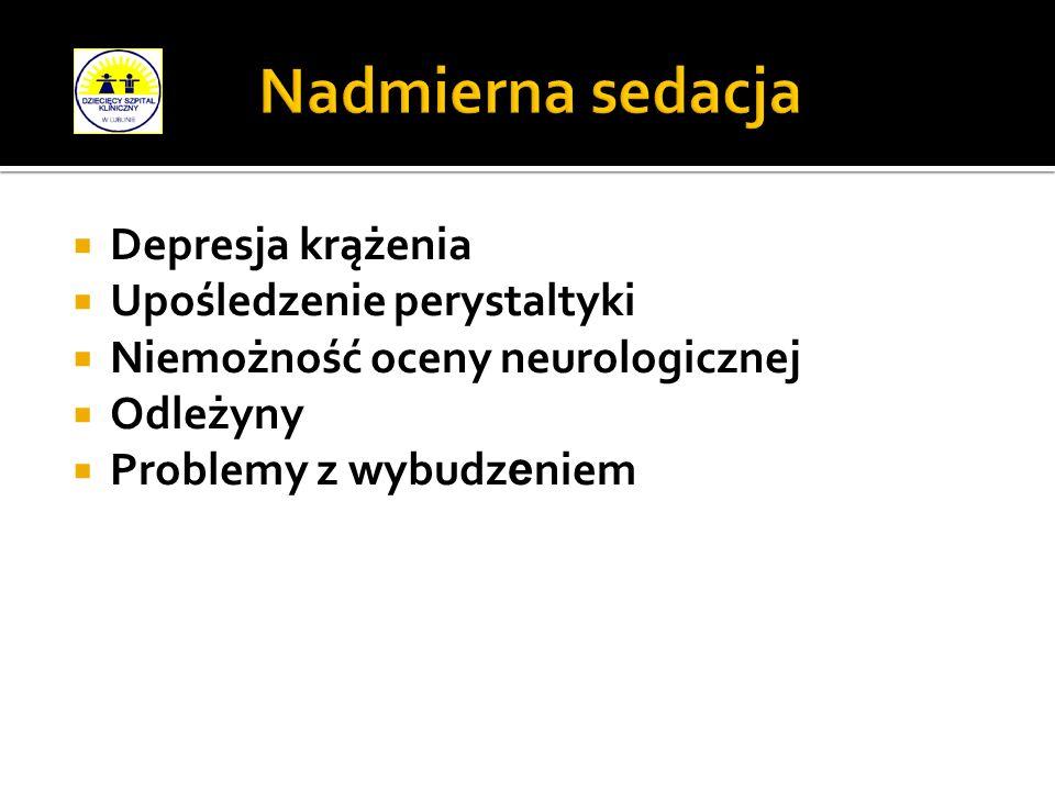 Depresja krążenia Upośledzenie perystaltyki Niemożność oceny neurologicznej Odleżyny Problemy z wybudz e niem