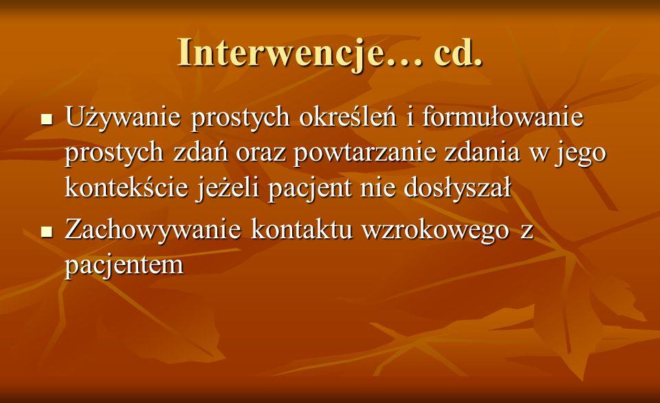 Interwencje… cd. Używanie prostych określeń i formułowanie prostych zdań oraz powtarzanie zdania w jego kontekście jeżeli pacjent nie dosłyszał Używan
