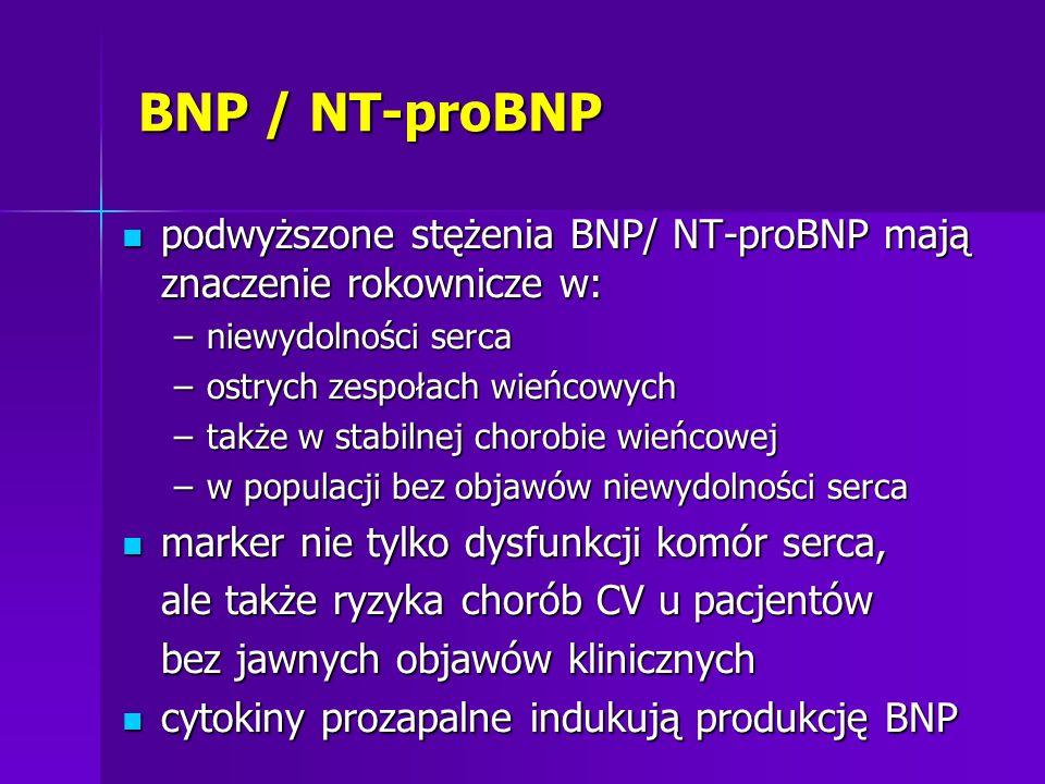 BNP / NT-proBNP podwyższone stężenia BNP/ NT-proBNP mają znaczenie rokownicze w: podwyższone stężenia BNP/ NT-proBNP mają znaczenie rokownicze w: –nie