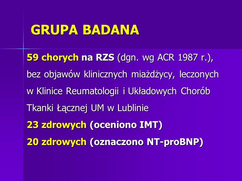GRUPA BADANA 59 chorych na RZS (dgn. wg ACR 1987 r.), bez objawów klinicznych miażdżycy, leczonych w Klinice Reumatologii i Układowych Chorób Tkanki Ł