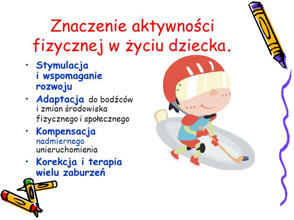 Znaczenie aktywności fizycznej w życiu dziecka. Stymulacja i wspomaganie rozwoju Adaptacja do bodźców i zmian środowiska fizycznego i społecznego Komp