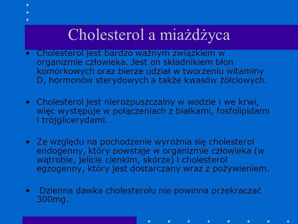 Cholesterol a miażdżyca Cholesterol jest bardzo ważnym związkiem w organizmie człowieka. Jest on składnikiem błon komórkowych oraz bierze udział w two