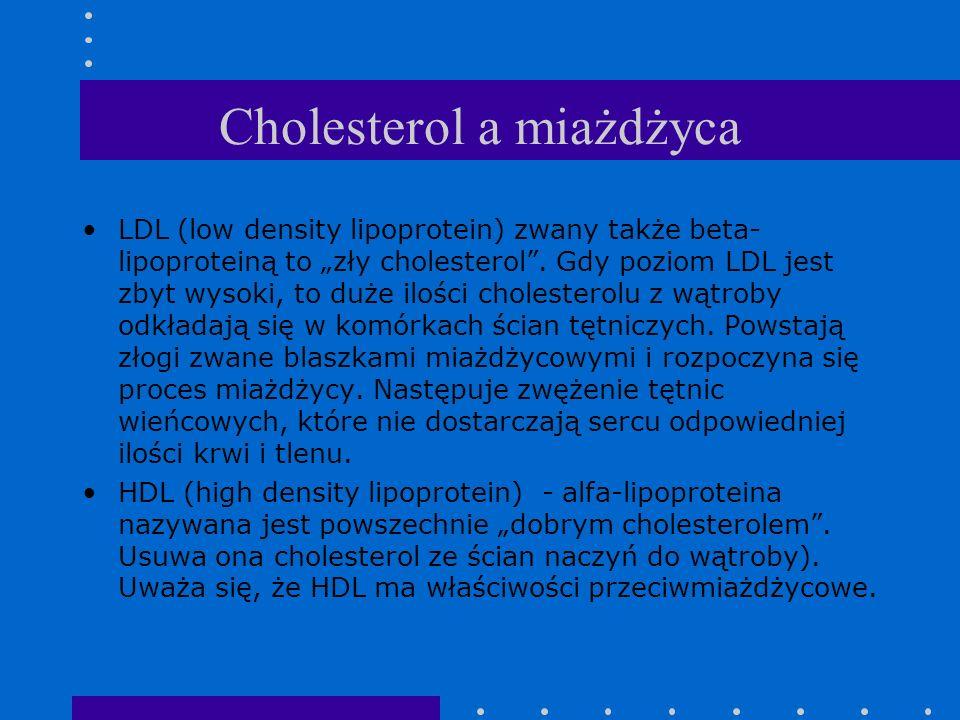 Cholesterol a miażdżyca LDL (low density lipoprotein) zwany także beta- lipoproteiną to zły cholesterol. Gdy poziom LDL jest zbyt wysoki, to duże iloś