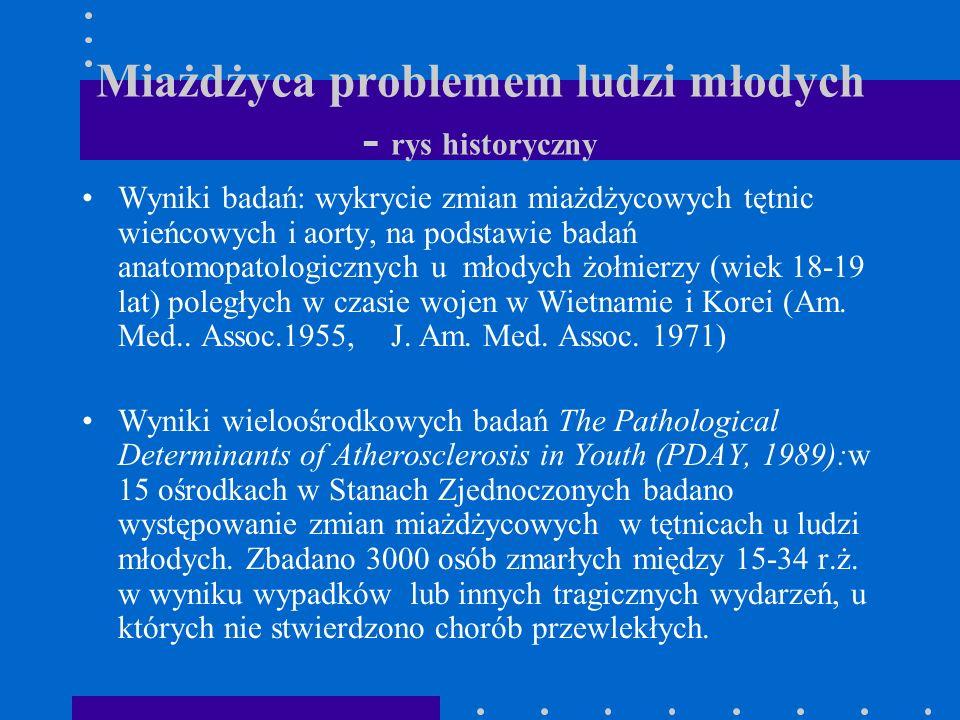 Miażdżyca problemem ludzi młodych - rys historyczny Wyniki badań: wykrycie zmian miażdżycowych tętnic wieńcowych i aorty, na podstawie badań anatomopa