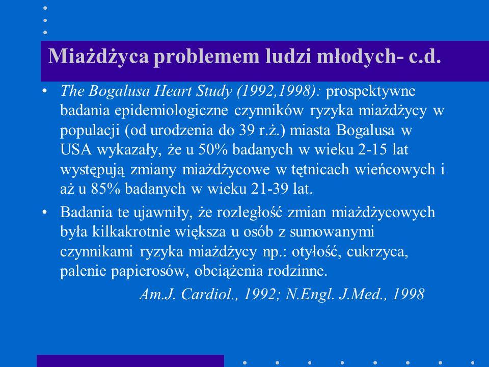 Miażdżyca problemem ludzi młodych- c.d. The Bogalusa Heart Study (1992,1998): prospektywne badania epidemiologiczne czynników ryzyka miażdżycy w popul