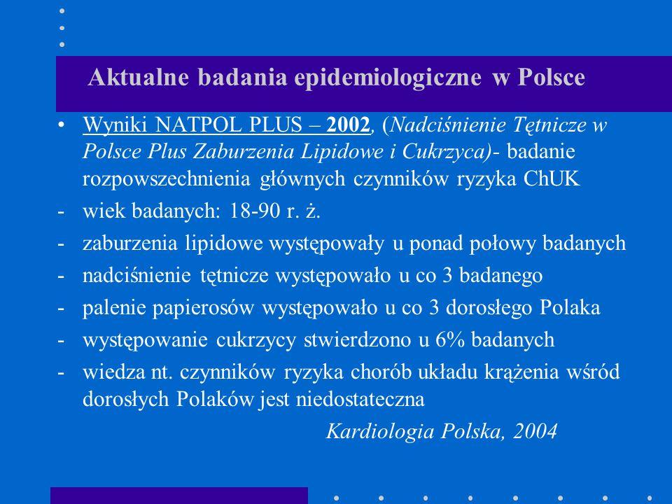 Aktualne badania epidemiologiczne w Polsce Wyniki NATPOL PLUS – 2002, (Nadciśnienie Tętnicze w Polsce Plus Zaburzenia Lipidowe i Cukrzyca)- badanie ro