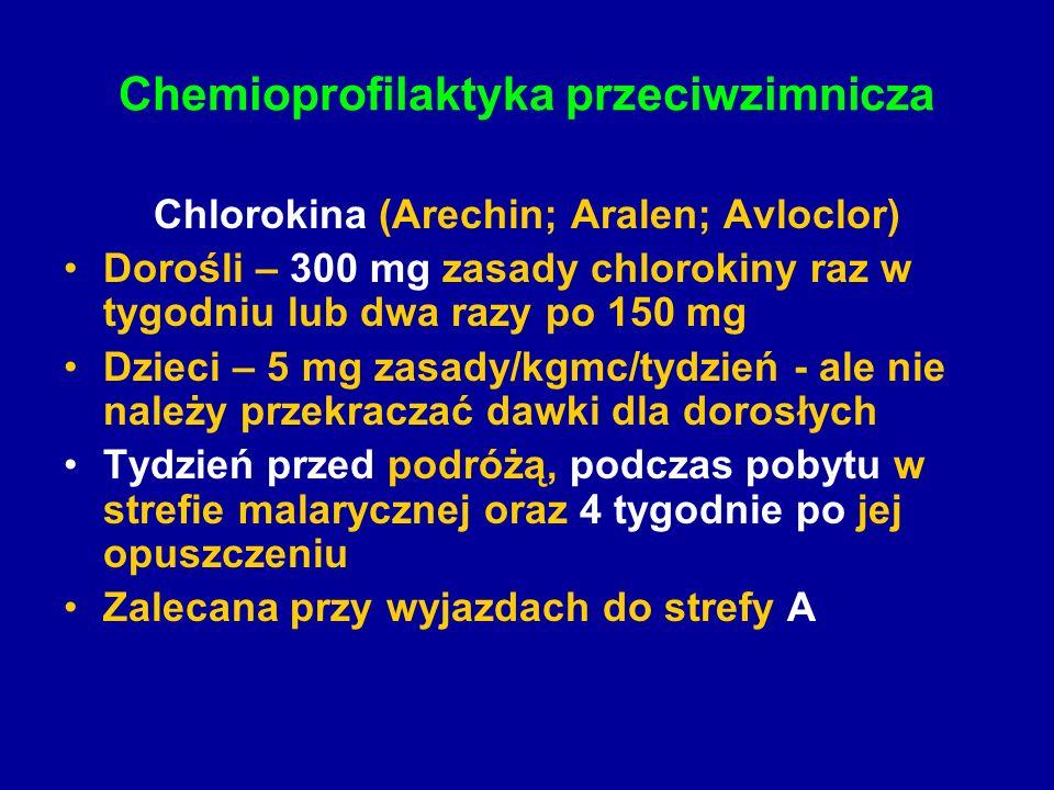 Chemioprofilaktyka przeciwzimnicza Chlorokina (Arechin; Aralen; Avloclor) Dorośli – 300 mg zasady chlorokiny raz w tygodniu lub dwa razy po 150 mg Dzi