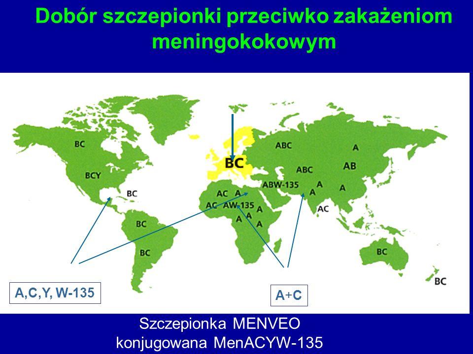 Dobór szczepionki przeciwko zakażeniom meningokokowym A,C,Y, W-135 A+CA+C Szczepionka MENVEO konjugowana MenACYW-135