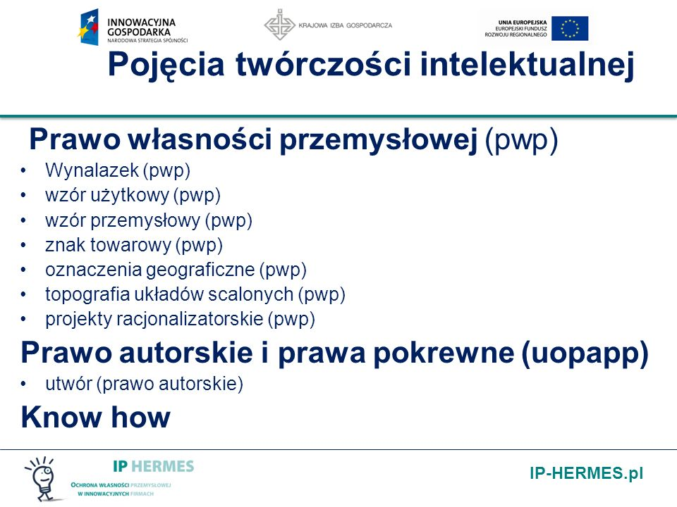 IP-HERMES.pl Pojęcia twórczości intelektualnej Prawo własności przemysłowej (pwp) Wynalazek (pwp) wzór użytkowy (pwp) wzór przemysłowy (pwp) znak towa